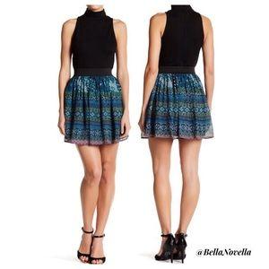 Aztec Blue & Green Print Chiffon Mini Skirt M=8/10